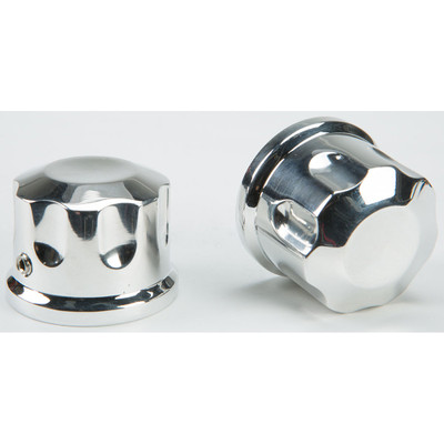 Rooke Customs Front Axle Nut Covers for Harley - Polished