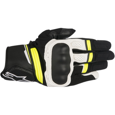 Alpinestars Booster Leather Gloves - Black/White/Yellow