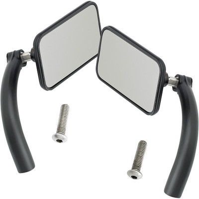 Biltwell Utility Mirrors Rectangle Perch Mount - Black Pair