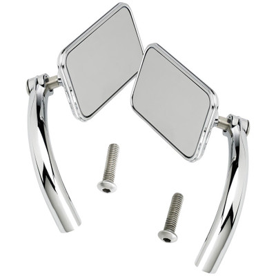 Biltwell Utility Mirrors Rectangle Perch Mount - Chrome Pair