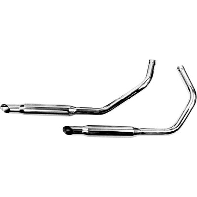 "Paughco 1-3/4"" Exhaust 38"" Slash-Cut Muffler Pipes for 1957-1985 Harley Ironhead Sportster - Chrome"
