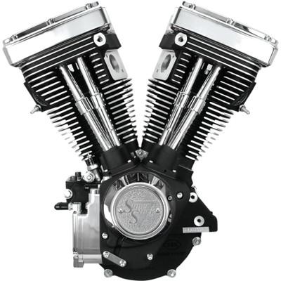 S&S V80 Long Block Engine for 1984-1999 Harley Big Twin - Wrinkle Black