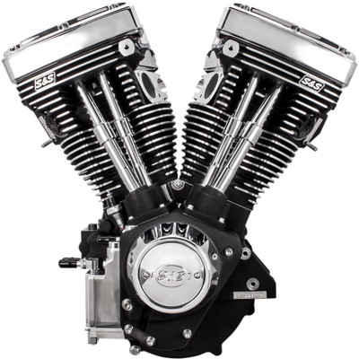 S&S V111 Long Block Engine for 1984-1999 Harley Big Twin - Wrinkle Black