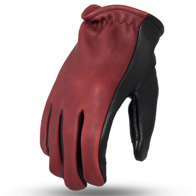 First Mfg. 2-Tone Roper Gloves - Oxblood/Black
