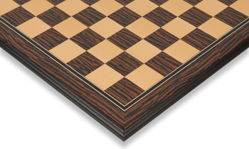 "Tiger Ebony & Maple Molded Edge Chess Board - 1.75"" Squares"