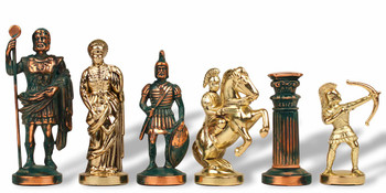 "Archers Theme Chess Set Antiqued Green Copper & Brass Pieces - 3.75"" King"