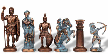 "Archers Theme Chess Set Antiqued Blue Copper & Copper Pieces - 3.75"" King"