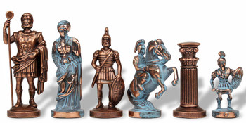 "Romans Theme Chess Set Antiqued Blue Copper & Copper Pieces - 3.75"" King"