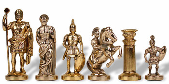 "Romans Theme Chess Set Brass & Nickel Pieces - 3.75"" King"