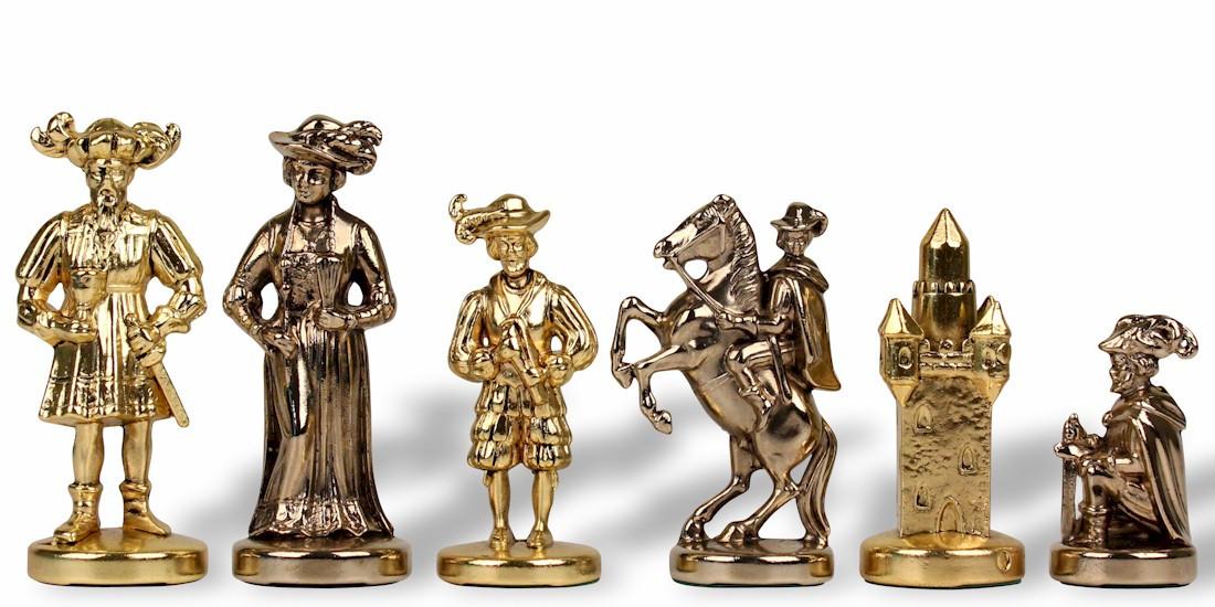 Best Knights Theme Chess Set Brass & Nickel Pieces - 3.5