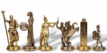 "Large Poseidon Theme Chess Set Brass & Nickel Pieces - 4.5"" King"