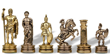 "Small Romans Theme Chess Set Brass & Nickel - 2.125"" King"