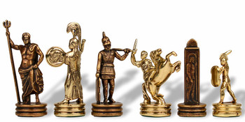 "Small Poseidon Theme Chess Set Brass & Copper Pieces - 2.5"" King"