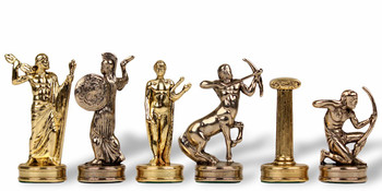 "Hercules Theme Chess Set Brass & Nickel Pieces - 2.25"" King"