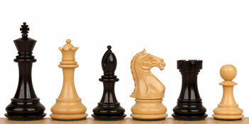"Fierce Knight Staunton Chess Set in Ebonized Boxwood - 3"" King"