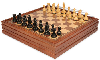 "Fierce Knight Staunton Chess Set in Ebonized Boxwood with Walnut Chess & Backgammon Case - 3"" King"