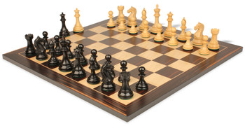 "Fierce Knight Staunton Chess Set in Ebonized Boxwood with Macassar Chess Board- 3"" King"