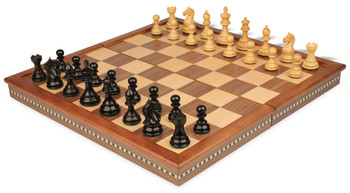 "Fierce Knight Staunton Chess Set in Ebonized Boxwood with Walnut Folding Chess Case - 3"" King"