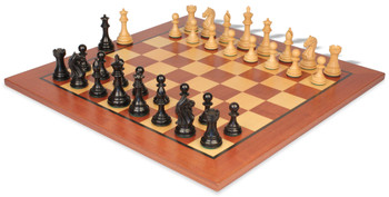 "Fierce Knight Staunton Chess Set Ebonized & Boxwood Pieces with Classic Mahogany Chess Board - 3"" King"