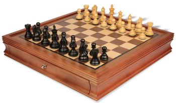 "Fierce Knight Staunton Chess Set in Ebonized Boxwood with Walnut Chess Case - 3"" King"