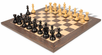 "Fierce Knight Staunton Chess Set in Ebonized Boxwood & Boxwood with Tiger Ebony & Maple Deluxe Chess Board - 4"" King"