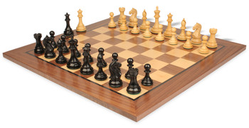 "Fierce Knight Staunton Chess Set in Ebonized Boxwood with Walnut Chess Board - 4"" King"