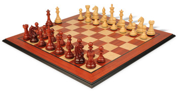 "Fierce Knight Staunton Chess Set in African Padauk & Boxwood with Molded Padauk Chess Board - 3"" King"