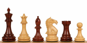 "Fierce Knight Staunton Chess Set in Rosewood & Boxwood - 4"" King"