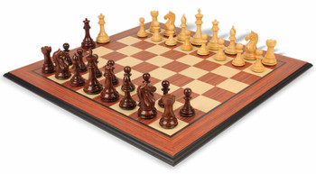 "Fierce Knight Staunton Chess Set in Rosewood & Boxwood with Rosewood Molded Chess Board - 4"" King"