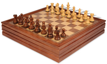 "Fierce Knight Staunton Chess Set in Golden Rosewood & Boxwood with Walnut Chess & Backgammon Case - 3"" King"