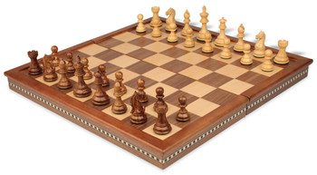 """Fierce Knight Staunton Chess Set in Golden Rosewood & Boxwood with Walnut Folding Chess Case - 3"""" King"""