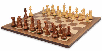 "Fierce Knight Staunton Chess Set in Golden Rosewood & Boxwood with Walnut Chess Board - 3"" King"