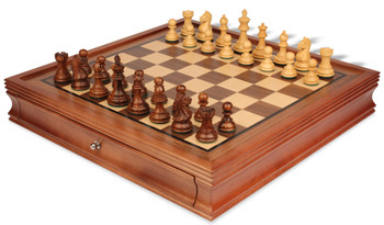 """Fierce Knight Staunton Chess Set in Golden Rosewood & Boxwood with Walnut Chess Case - 3"""" King"""