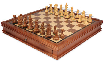 """Fierce Knight Staunton Chess Set in Golden Rosewood & Boxwood with Walnut Chess Case - 3.5"""" King"""