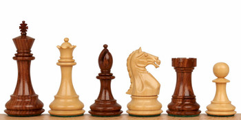 "Fierce Knight Staunton Chess Set in Golden Rosewood & Boxwood - 4"" King"
