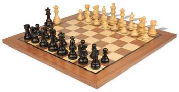 """French Lardy Staunton Chess Set in Ebonized Boxwood with Standard Walnut Chess Board - 3.25"""" King"""