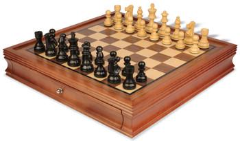 "French Lardy Staunton Chess Set in Ebonized Boxwood with Walnut Chess Case - 3.25"" King"