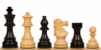 "French Lardy Staunton Chess Set in Ebonized Boxwood - 3.75"" King"