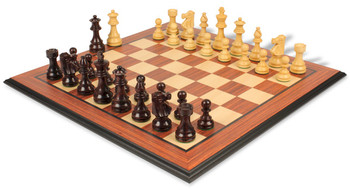 """French Lardy Staunton Chess Set in Rosewood & Boxwood with Rosewood Molded Chess Board - 3.25"""" King"""
