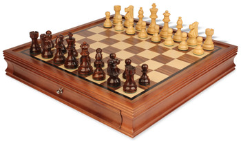 """French Lardy Staunton Chess Set in Rosewood & Boxwood with Walnut Chess Case - 3.75"""" King"""