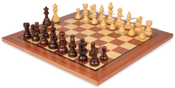 "French Lardy Staunton Chess Set Rosewood & Boxwood Pieces with Classic Mahogany Chess Board - 3.75"" King"