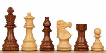 "French Lardy Staunton Chess Set in Golden Rosewood & Boxwood - 3.25"" King"