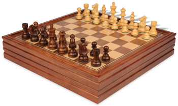 """French Lardy Staunton Chess Set in Golden Rosewood & Boxwood with Walnut Chess & Backgammon Case - 3.25"""" King"""