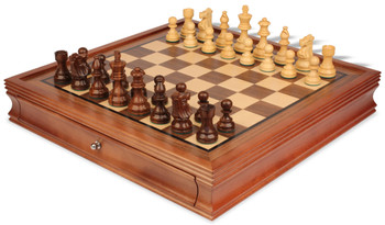 """French Lardy Staunton Chess Set in Golden Rosewood & Boxwood with Walnut Chess Case - 3.25"""" King"""