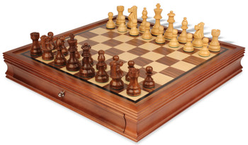 "French Lardy Staunton Chess Set in Golden Rosewood & Boxwood with Walnut Chess Case - 3.75"" King"