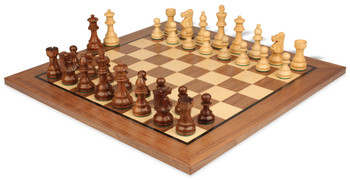 "French Lardy Staunton Chess Set in Golden Rosewood & Boxwood with Standard Walnut Chess Board - 3.75"" King"