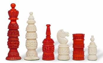 Floret Decorative Bone Chess Set with Red & White Pieces