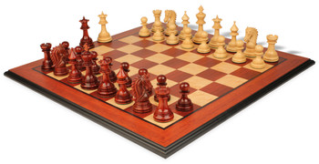 "Hadrian Staunton Deluxe Chess Set Package in African Padauk & Boxwood - 4.4"" King"