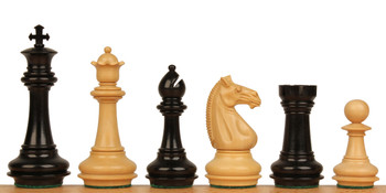 "Khan's Stallion Staunton Chess Set in Ebony & Boxwood - 4.25"" King"