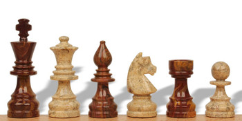 """Red Onyx & Coral Stone German Staunton Chess Pieces - 4"""" King"""